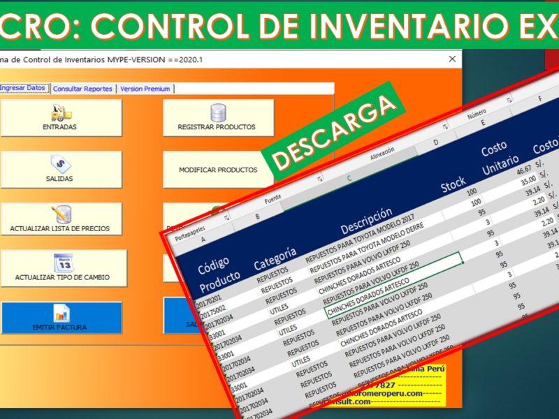 Macro Control de Inventarios en Excel-Gratis