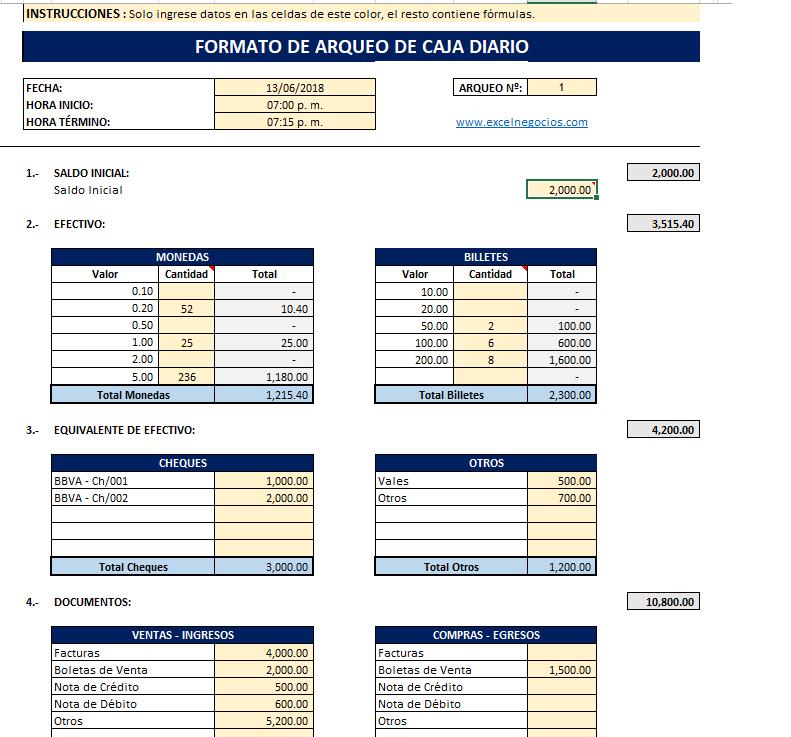Plantilla de Arqueo  de Caja en Excel-Gratis