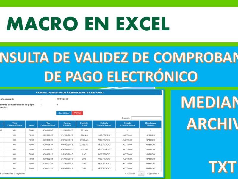 Macro Excel txt para consulta masiva de validez de Comprobante Electrónico-SUNAT