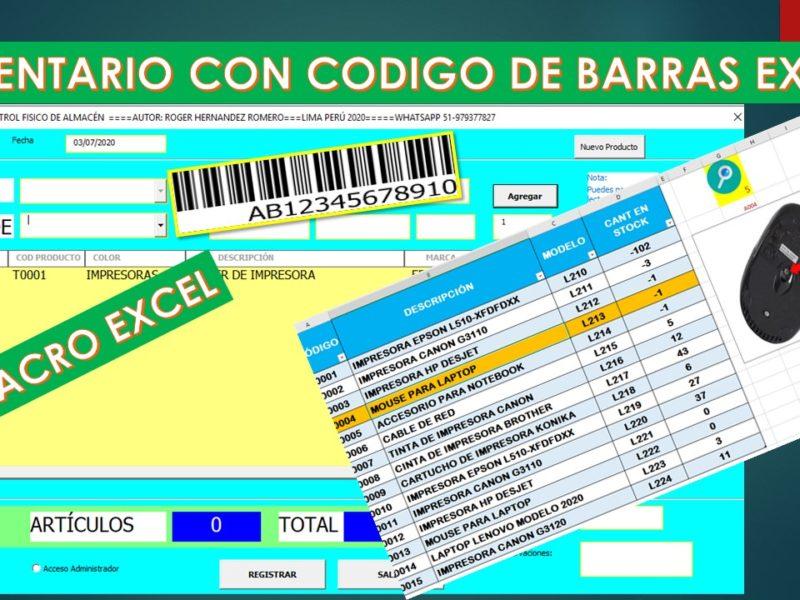 Macro Control de Inventario con código de barras en Excel|Descarga gratis