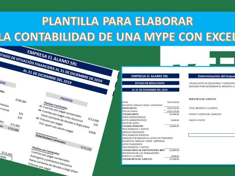 Con esta Plantilla Excel puedes comenzar a elaborar la contabilidad de una Mype