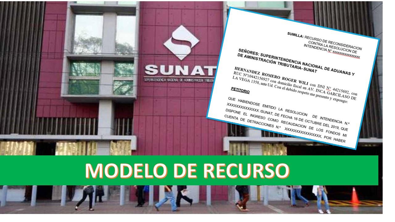 Ingreso por recaudación SUNAT:Modelo de Recurso de Reconsideración