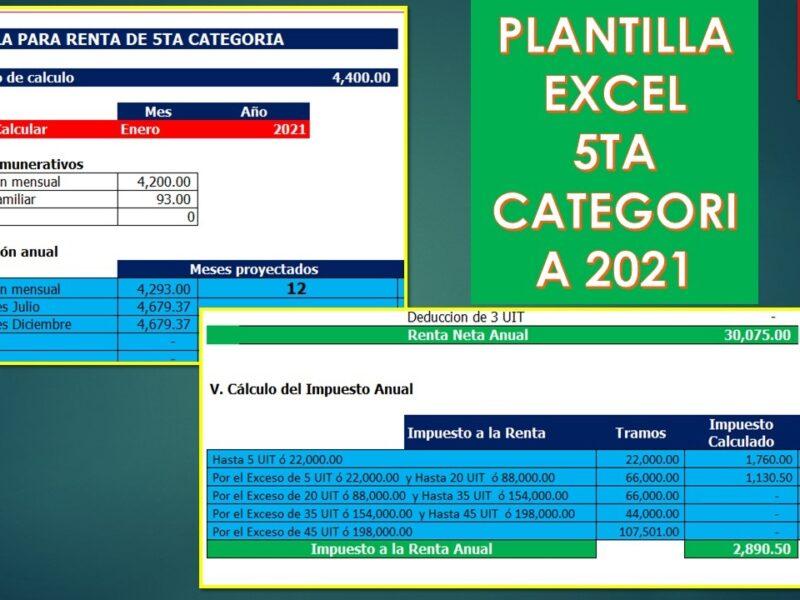 Plantilla Excel: Calculo de Renta de 5ta Categoría 2021