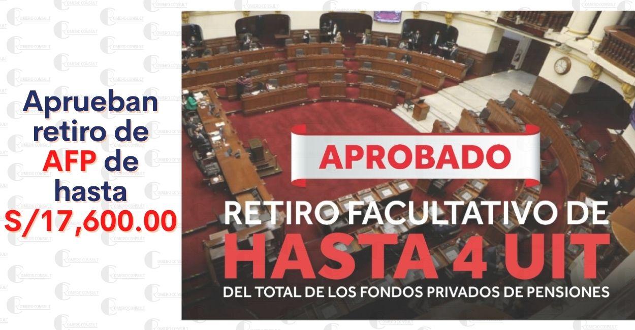Congreso aprueba por insistencia retiro de S/ 17,600 de la AFP