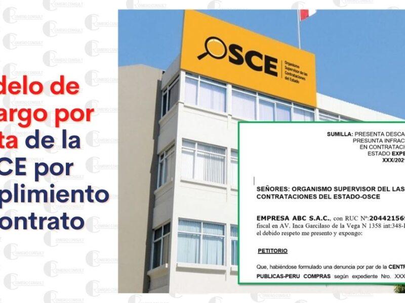Modelo de descargo por Multa de la OSCE por incumplir contratos en catálogos Electrónicos