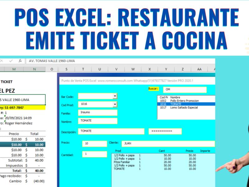Plantilla Excel GRATIS: Emisión de Ticket para restaurante